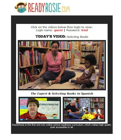 A sample of the one to two-minute videos parents receive through email each week showing them how to teach educational lessons through everyday situations using available materials. Screenshot from ReadyRosie.