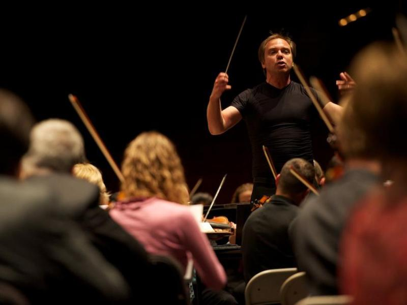Music Director Sebastian Lang-Lessing rehearses with the San Antonio Symphony. Courtesy photo.