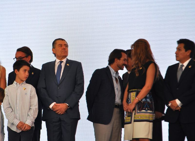 Univision Board Chair Haim Saban (center, left) looks on while friends, family, and colleagues gather on stage for the official unveiling of CRIT USA. Photo by Iris Dimmick.
