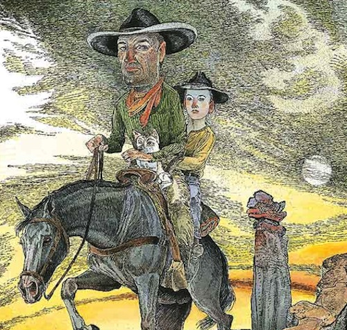 "Detail of Jack Unruh's cover illustration for ""The Devil's Backbone"" by Bill Wittliff. Courtesy image."