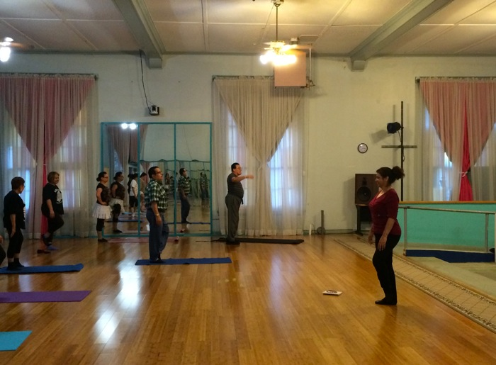 Dancers practice at the Urban-15 studio for Carnaval de San Anto at Fiesta next spring. Photo by Katherine Nickas.