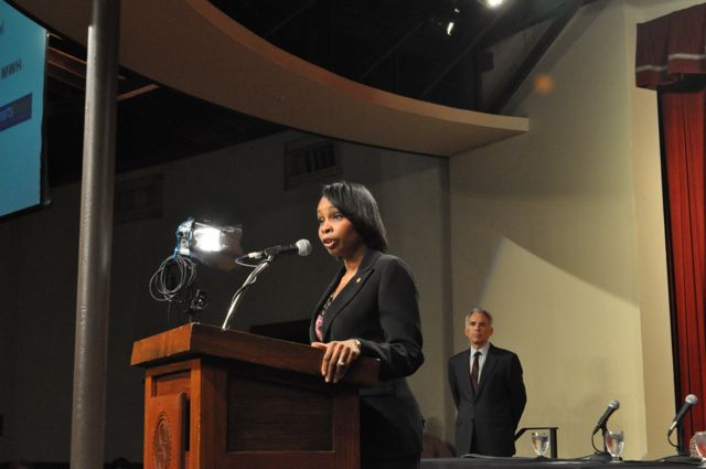Mayor Ivy Taylor reminds the audience to attend the public meeting in City Council chambers later Wednesday evening. Photo by Iris Dimmick.