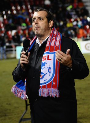 Bill Peterson, NASL Commissioner, addresses the crowd during halftime of the championship math between the San Antonio Scorpions and the Fort Lauderdale Strikers. Photo by Kristian Jaime.