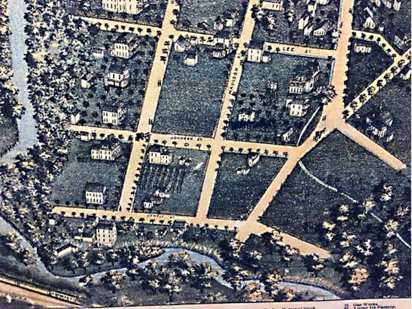 Engraving from 1886 highlighting the Goetze House in King William; the only dwelling in the New City Block of 750 in the then-new district south of the city's center, which later became known as the King William Historic District. The engraving—actually a cartographer's aerial view of the city created with axonometeric projection—depicts a few German mansions beginning to fill up the vacant rows of parcels along King William Street. On the southern side of East Johnson Street, there are only 2 other houses—both mansions erected by the venerable Steves Family.