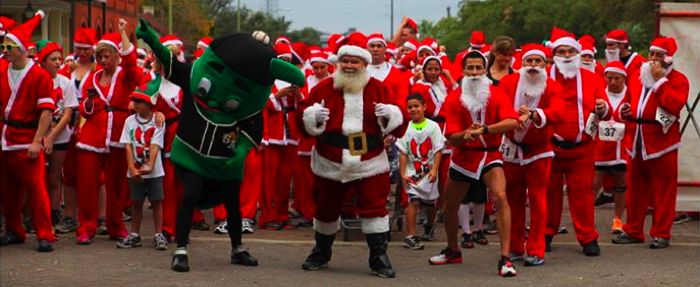 Runners in the 5K San Antonio Santa Boogie dress as Santa Claus and run or walk through downtown, with a new route past the Alamo this year. Photo courtesy of D'Corazon Foundation.