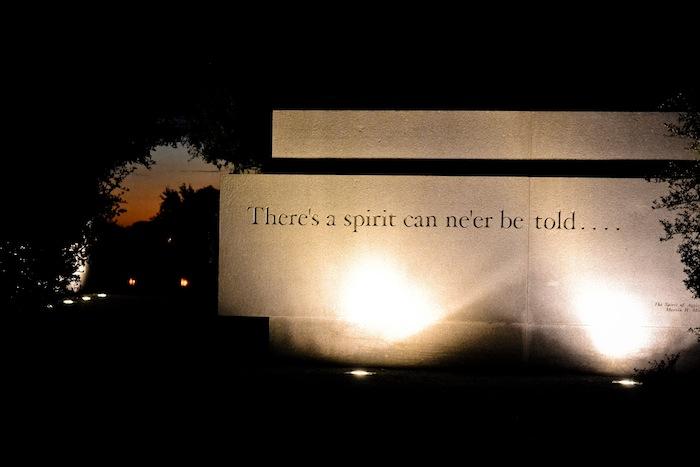 Spirit Wall at the Texas A&M University Bonfire Memorial. Photo by Alex Richter.