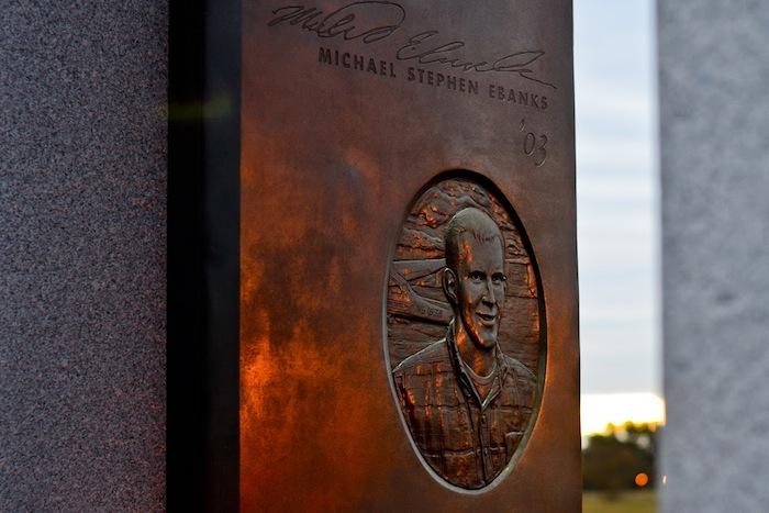 Bonfire Memorial portal honoring Texas A&M University student Michael Stephen Ebanks. Photo by Alex Richter.