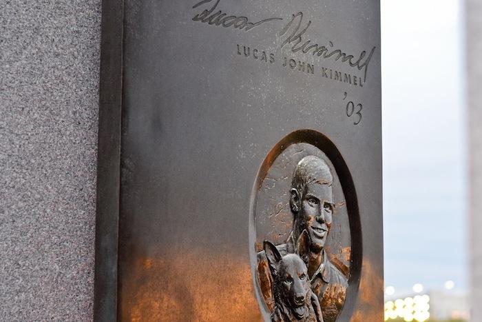 Bonfire Memorial portal honoring Texas A&M University student Lucas John Kimmel. Photo by Alex Richter.