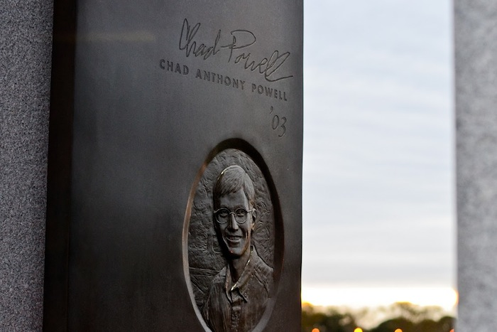 Bonfire Memorial portal honoring Texas A&M University student Chad Anthony Powell. Photo by Alex Richter.