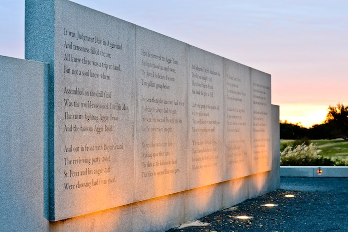 """The Last Corps Trip"" inscribed at the Texas A&M University Bonfire Memorial. Photo by Alex Richter."