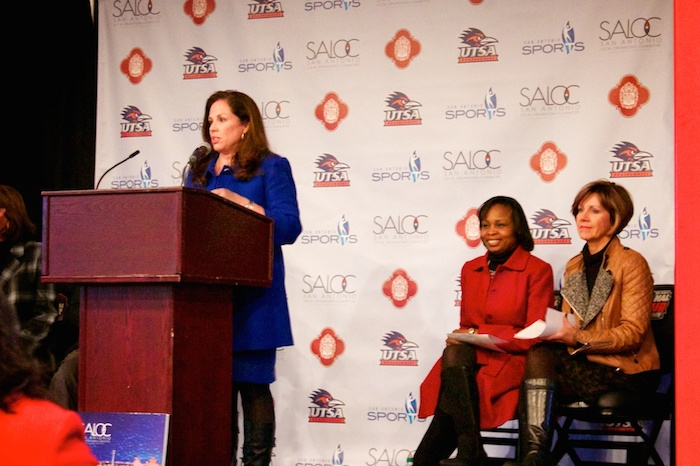 San Antonio Sports Senior Vice President Mary Ullmann Japhet speaks at a press conference after news broke that San Antonio will be hosting the NCAA Final Four in 2018. Photo by Taylor Browning.