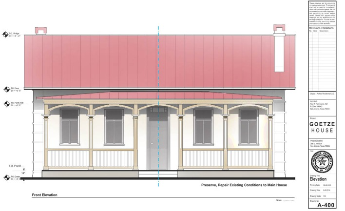 The Goetze House restoration drawing.