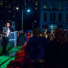 Mayor Ivy Taylor speaks at the H-E-B Tree Lighting Ceremony. Photo by Scott Ball.