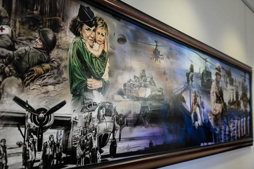 A painting in the entrance foyer at the Patriots' Casa. Photo by Annette Crawford.