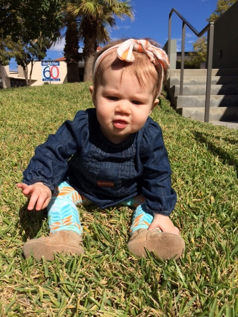 Urban Baby Moira McNeel enjoys the grounds at the McNay.