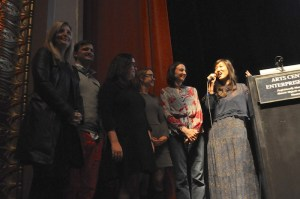 The PechaKucha team thanks the audience for participating in the largest PKN so far. Photo by Iris Dimmick.