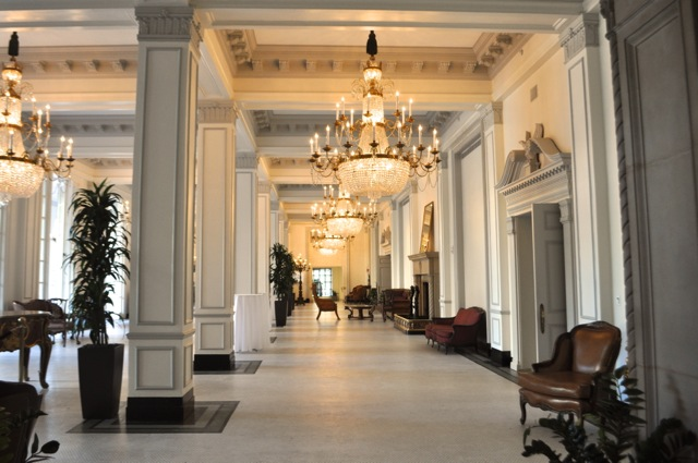 """Interior hallway, """"Peacock Alley,"""" at the St. Anthony Hotel. Photo by Iris Dimmick."""