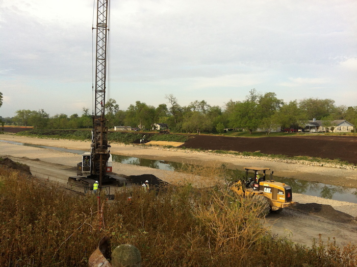 Photo taken in early 2012 during the dredging and re-shaping of the river along the Mission Reach. This wide, flood plain section of the river is known as Lake Davis. Photo by Rudolf Harst.