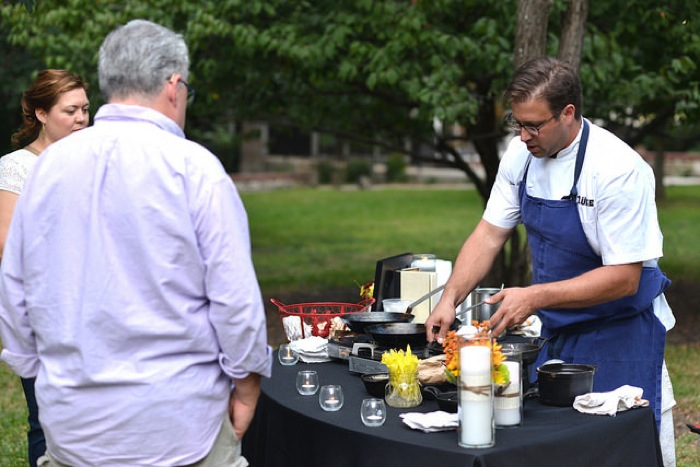 "Inspired by ""The Yellow King,"" Chef John Russ cooks Yukon Potatoes with Louisiana Crab and Texas Corn. Photo by David Rangel."