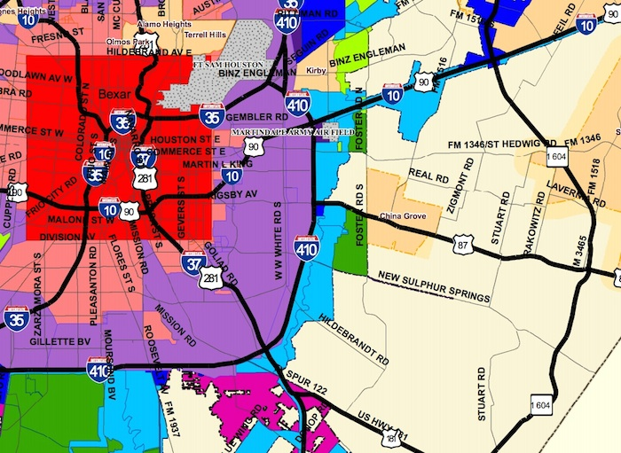 Section of City of San Antonio Annexations by decade map.