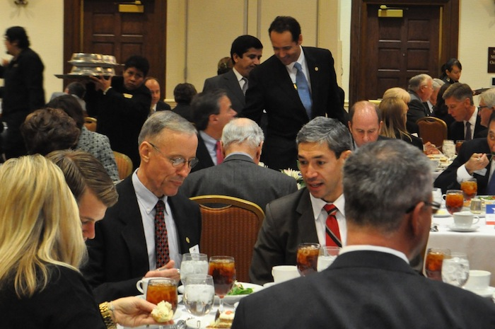District 10 Councilmember Mike Gallagher sits with District 8 Councilmember Ron Nirenberg at the San Antonio Chamber of Commerce Luncheon. Photo by Iris Dimmick.