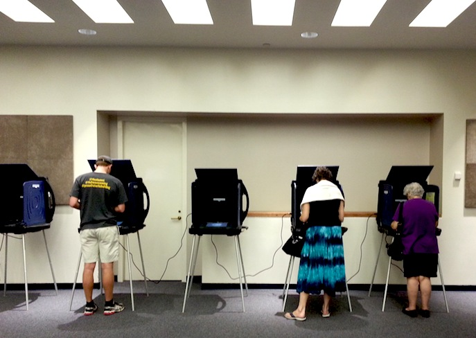 San Antonians cast their vote at the Central Library polling location.
