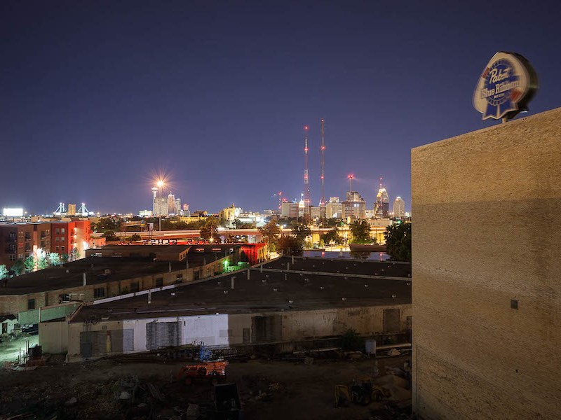 A view of downtown at night from the Pearl brewhouse's copula. Photo by Scott Martin.