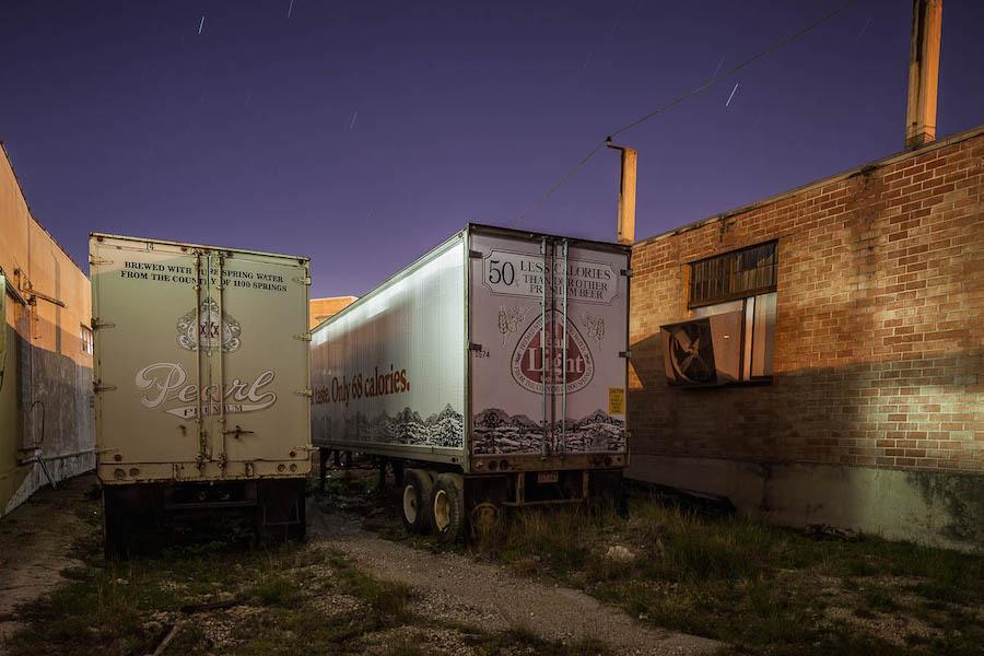 Leftover Pearl beer trucks. Photo by Scott Martin.