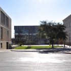 The Career and Technology Education (CATE) building at Brackenridge High School is set back from the street and parking lot. Photo by Iris Dimmick.