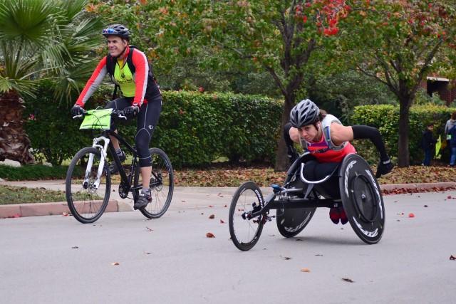 Wheelchair athletes were among the marathon vanguard. Photo by Page Graham.