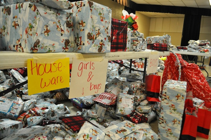 Hundreds of presents arranged by type at the Family Service Association. Photo by Iris Dimmick.