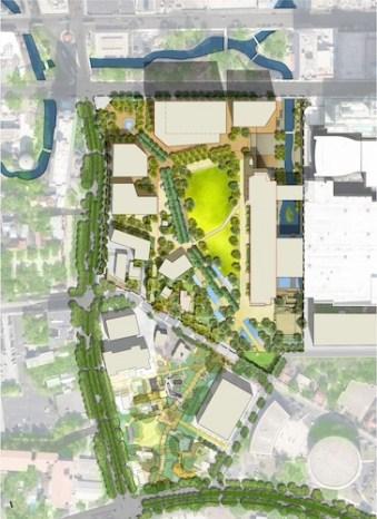 An aerial rendering of Hemisfair Civic Park.
