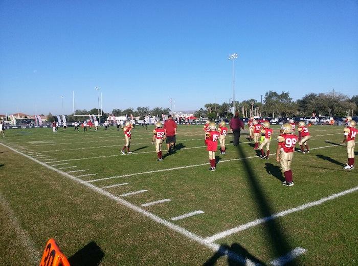Seminoles on the field in Orlando, Florida for the American Youth Football (AYF) 2014 National Championship. Photo courtesy of Seminoles Assistant Coach Hector Alvarado Jr.