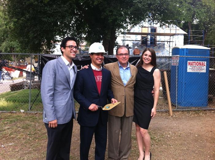 From left: Hemisfair Director Omar Gonzalez, then-Mayor Julián Castro, Hemisfair CEO Andres Andujar, and Hemisfair Executive Assistant Rachel Holland. Courtesy photo.