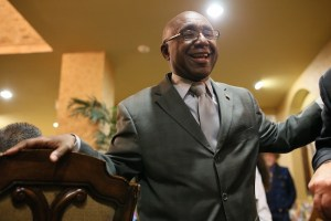 Keith Toney welcomes visitors to his election night watch party. Photo by Scott Ball.