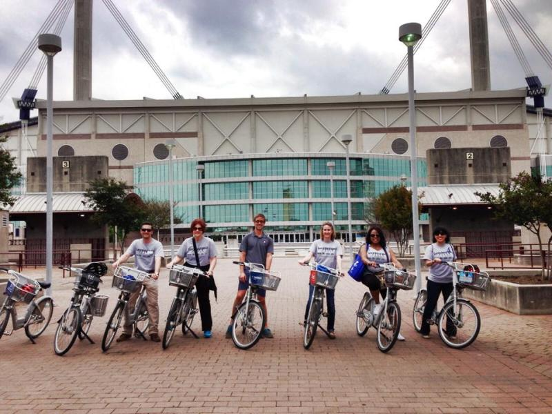 The 39th Leadership San Antonio class tours the city on B-cycles during its Transportation Day tours. Courtesy photo.