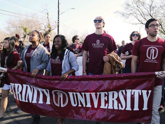 Trinity students represent their university at the San Antonio city-wide march on Martin Luther King, Jr. Day. Photo courtesy of Trinity University.