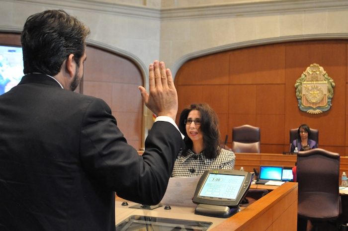 Roberto C. Treviño is sworn in to serve as interim District 1 Council member. Photo by Iris Dimmick.