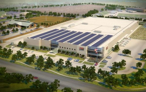 Rendering of the San Antonio Food Bank facility and surrounding acreage of farm. Image courtesy of Strategic Development Solutions.