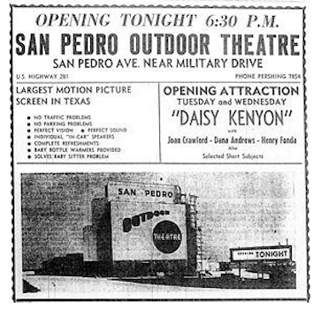 An advertisement for a movie showing at the San Pedro Outdoor Theater in 1948. Screenshot courtesy of Santikos Theaters.