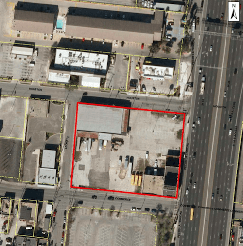 An aerial photo of the proposed multi-use development at Cattleman Square. Image courtesy of 210 Developers.