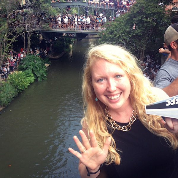 Kelly Beevers enjoys the Spurs victory parade on the River Walk. Courtesy photo.