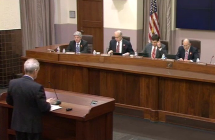 The Texas Transportation Commission meeting on Dec. 18, 2014. Screenshot from video recording.