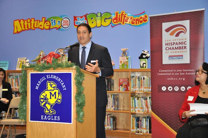 State Rep.Trey Martinez Fischer (D-Dist. 116) speaks at the San Antonio Hispanice Chamber of Commerce event at Margil Elementary School. Courtesy photo.