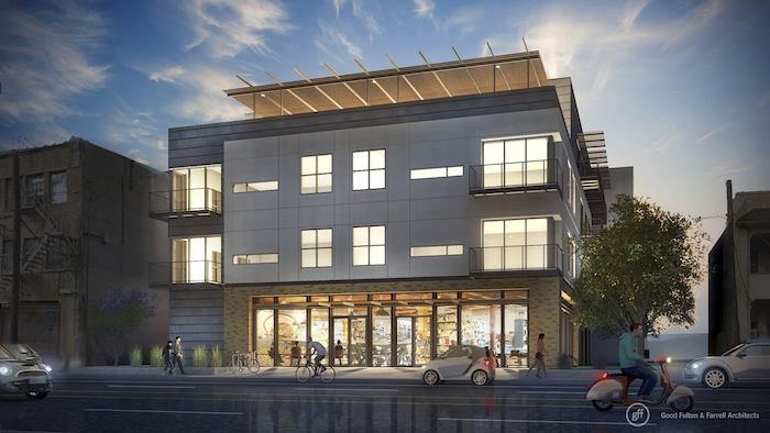 Rendering of what the Rivera apartment complex will look like from Jones Street. Image courtesy of Good Fulton & Farrell.