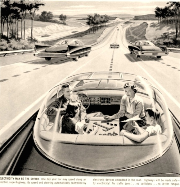 """Driverless Car of the Future, advertisement for """"America's Electric Light and Power Companies,"""" Saturday Evening Post, 1950s. Credit: The Everett Collection."""
