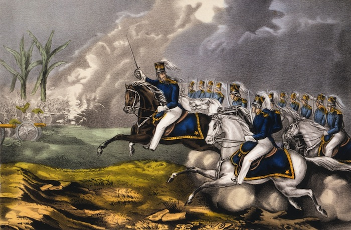 Hand-colored Currier lithograph depicting the charge of Capt. Charles May at the Battle of Resaca de la Palma on May 9th, 1846 during the Mexican-American War. Image date: ca. 1846.