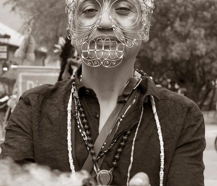 Alejandro Sifuentes is a metalsmith at the Equinox Gallery in La Villita. Mask by Caitie Sellers. Photo by Al Rendon.