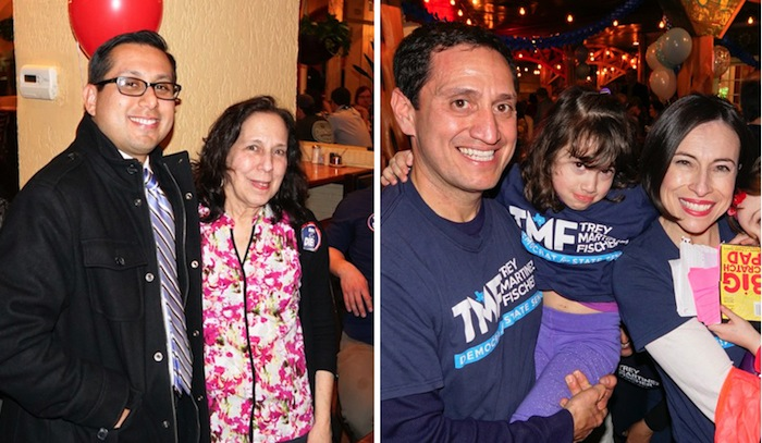 Diego Bernal (left photo) and Trey Martinez Fischer (right photo) at their respective election watch parties. Photos by Al Rendon.