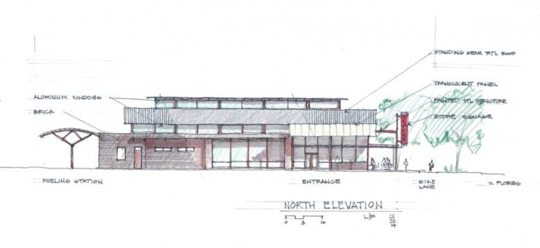 Conceptual design of H-E-B's Flores Market. Courtesy of Lake/Flato Architects.